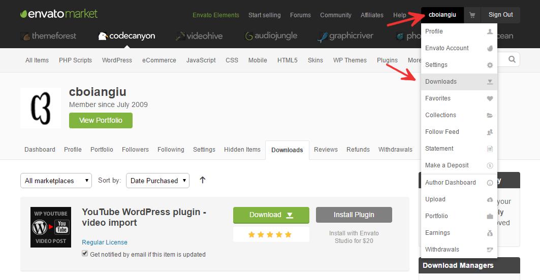 Envato market user downloads page
